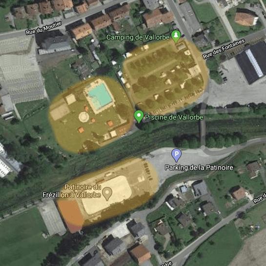 Carte des 3 sites à Vallorbe